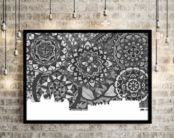 Amsterdam, Holland, Skyline, Poster, Digital Art, Black and White, Home Decore, Netherlands, Print, Zentangle, Doodle, Drawing, Collectibles