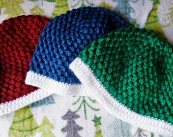 Adult winter hat, blue, green, and red. Warm hat for winter. Puff stitch beanie.