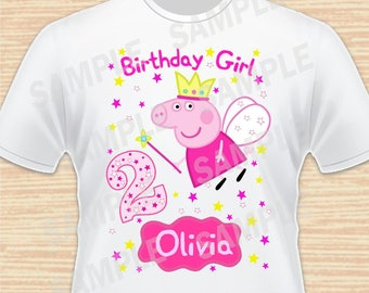 Any Name and Age for Design Birthday Girl. Digital File Peppa Pig. Personalized Family Shirts, Birthday Party, Iron on Transfer, Printable 1