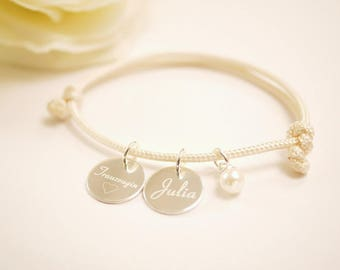 Bracelet ~ maid of honor ~ wish engraving ~ silver