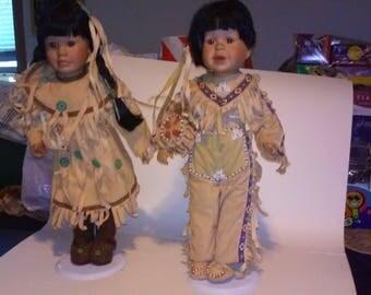 "Native American Porcelain Dolls w/ Display Stands- Set of 2 - Brave/Squaw 15"" Hi"