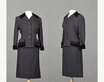SALE 50s Suit 50s Black Skirt Suit 1950s Skirt Suit Hourglass Skirt Suit Wasp Waist Velvet Trim Red Lined 1950s Tailored Suit Medium Separat