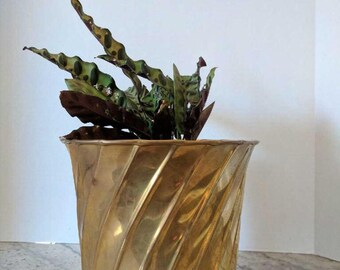 Vintage Brass Pot | Ornamental Planter | Brass Decor | Vintage Brass Planter