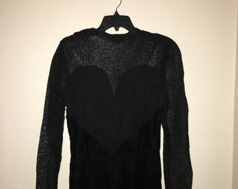 Vintage black velvet and lace dress