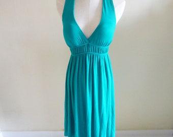 Teal Green Halter Neck Dress