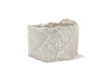 Natuur Textuur Zilveren Ring - Natuurlijke Zilver Ring Handgemaakt - Esdoorn Ring - Ring met Natuur Textuur Zilver