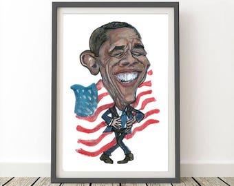 Obama Print, Printable Poster, Caricature, Instant Download, Barack Obama Poster, Decor, Originally Hand drawn