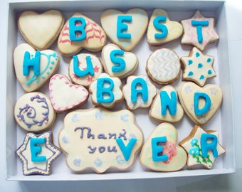 a box of cookies with a message, husband gift ,sweet gift