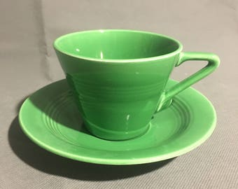 Vintage Green Ceramic Tea Cup Coffee Cup with Saucer