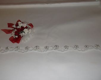 White Silver/Rhinestone Beaded Flower Lace