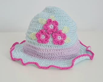 Child's Crocheted Summer Hat~ Sky Blue