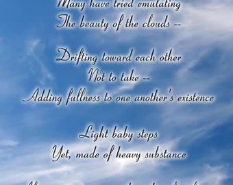 "Inspirational Poetry Greeting Card — ""Clouds"" — FREE SHIPPING"