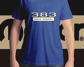 MOPAR, 383 Four Barrel Badge T-Shirt, Men's T-Shirt, Women's T-Shirt, Classic Car T-Shirt, MOPAR T-Shirt, Muscle Car T-Shirt,