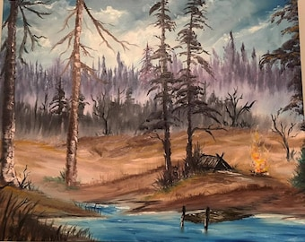 North Woods Camping - Oil Painting