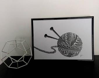 Zentangle Ball of Wool Print
