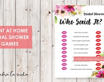 Who Said It? Bride or Bride Version. Bridal Shower Game. Instant Download. Printable Bridal Shower Game. Pink Flowers. Pink - 01