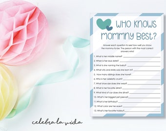 Instant Download Who Knows Mommy Best? Baby Shower Game. Printable Baby Shower Baby Boy Game. Blue