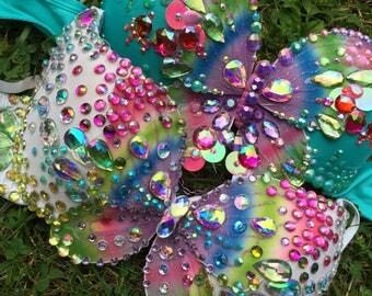 Rainbow Butterfly Rave Bra {READY TO SHIP 34B/34C}