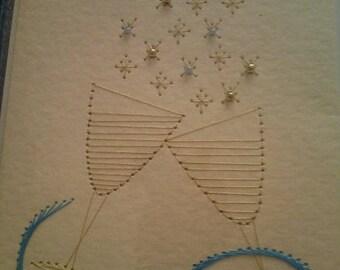 Handsewn wedding card, Champagne flutes