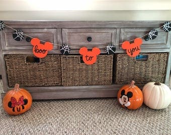 Disney Boo To You Mickey Mouse Spider Web Halloween Party Banner