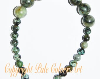 African Turquoise Stone Bead Bracelet, 8.25 Inch Bracelet, Green Bracelet,  Medium Large Size Bracelet, 10mm Bracelet, Gemstone Bracelet