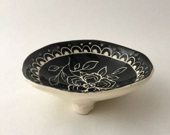 Handmade Floral Pottery Soap Dish