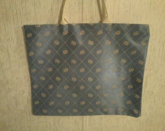 X-Large Slate Blue Diamond/Rose pattern Tote Bag, any occasion tote