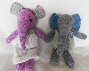 Hand Knitted Bride & Groom Elephant