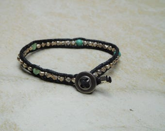 Small Single Wrap Bracelet with Sterling Silver, Genuine Turquoise, and Antique Green Glass Beads