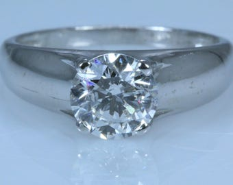 1.54 ct Round Cut D SI1 Diamond Solitaire Engagement Ring 14K WHITE GOLD