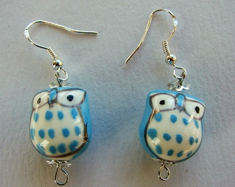 Blue quirky owl earrings