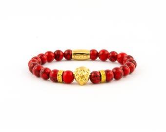 Lion bracelet, bracelet, bracelet, gemstone, turquoise Red
