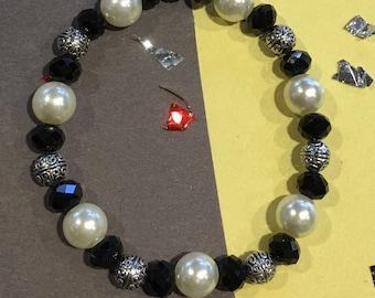 Royal Blue Crystal Rhinestone Pave Disco Ball & White Pearl Bracelet