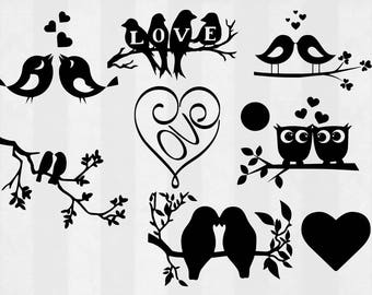 Love Birds SVG Bundle, love birds clipart, love birds cut files, svg files for silhouette, files for cricut, svg, dxf, eps, cuttable design