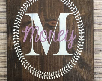 Family Initial Wood Sign - Last Name Sign