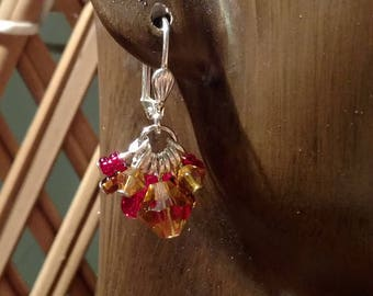 Red, amber and brown chandelier earrings