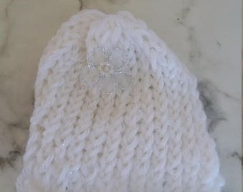 Newborn Baby Hat Sparkle Pattern and Delicate Silver Flower