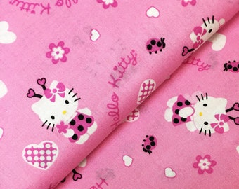 Hello Kitty Ladybug Heart Fabric / Pink / 100% Cotton / Childrens Novelty Print / Sold by the Yard