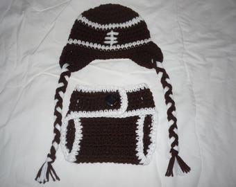 Football Hat and Diaper Cover Perfect Baby Shower Gift or Photo Prop