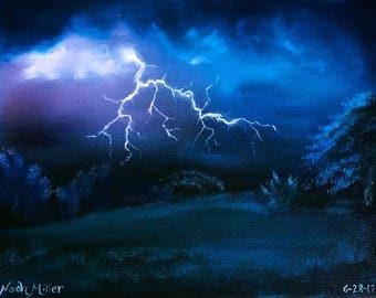 Oil Painting; As Lightning strikes
