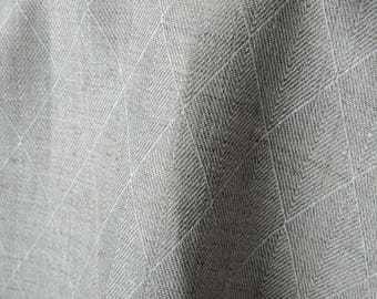 Linen fabric, 270 gsm. Diamond linen fabric, natural gray color, double-sided. Linen fabric by the meters, linen by the yard