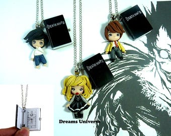 Death Note necklaces/ polymerclay chibis / anime  / manga