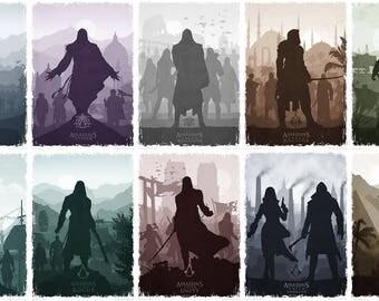 Assassin's Creed (10 piece set) minimalist posters - digital