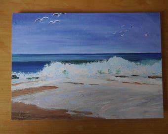 Card: Surf on Porthmeor beach, St Ives Cornwall, individual blank card