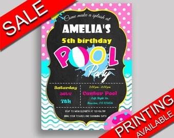 PoolParty Birthday Invitation PoolParty Birthday Party Invitation PoolParty Birthday Party PoolParty Invitation Girl chalkboard KDN9K