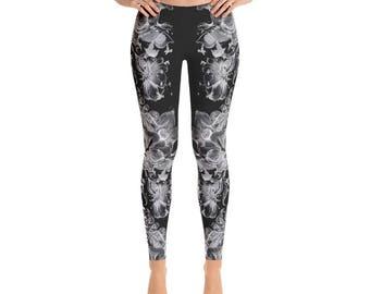 Black and White Floral Print Leggings