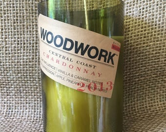 Woodwork Chardonnay Recycled Wine Bottle Candle, Wine Bottle Candle, Choose Your Own Scent,  Soy Candle