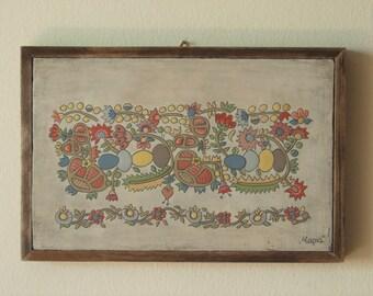 Flowers and eggs among fruitful trees, folk art painting,wall art