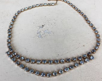 Blue Rhinestone Gold Tone Necklace