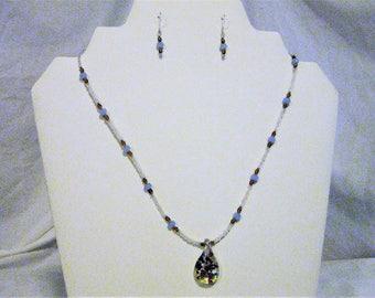 glass bead jewelry set,  glass beaded necklace and earring set, blue and amber glass beaded jewelry set,